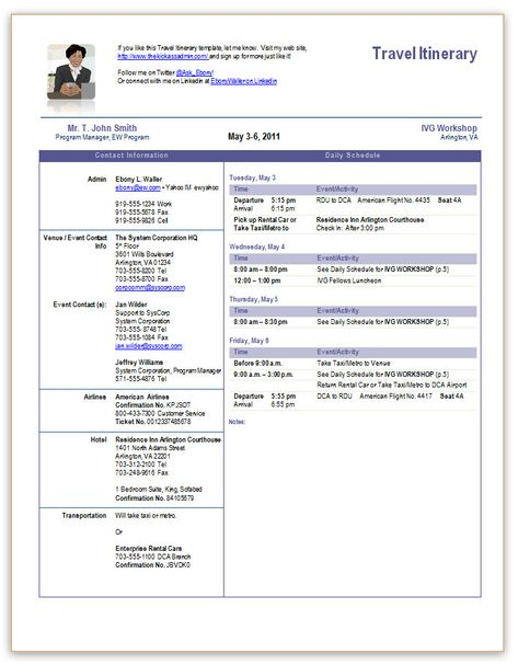 executive assistant travel itinerary template