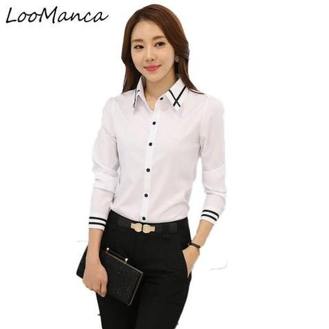 92d08157 2018 New Chiffon blouses shirts Women Blue White Shirt OL Office Lady Full  sleeves Work Wear Tops Plus Size Blusas Femininas