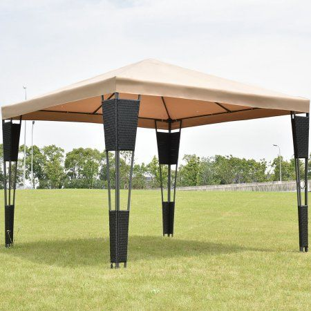 Costway Outdoor 10 X10 Rattan Wicker Gazebo Canopy Tent Shelter Awning W Brown Cover Eclecticandrustichomedecor Gazebo Canopy Gazebo Canopy Tent