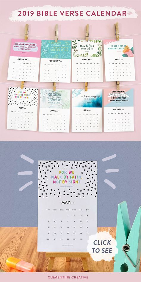 Bible Verse Calendar Printable 2019 Calendar Stocking Fillers