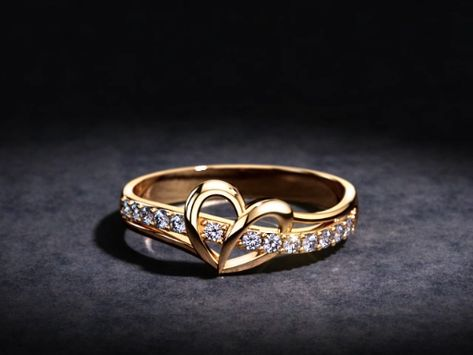 Open Heart Diamond Rose Gold Ring, 0.20tcw Diamonds in White, Yellow or Rose Gold #heartring #valentinesday #love #valentinesgift