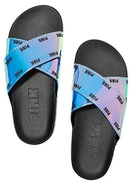 744dbf2472be8 Amazon.com | Victoria's Secret PINK Iridescent Criss Cross Slides ...