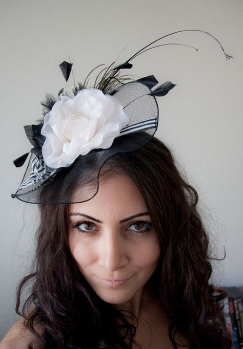 Black Fascinator Hat English Rose Couture Hat by EyeHeartMe ... fdc750438063