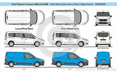 Ford Transit Connect Lwb And Swb Dual Sliding Side Doors Rear Liftgate Door Cargo And Passenger Van 2018 Present Detailed Templa фургон иллюстрации шаблоны