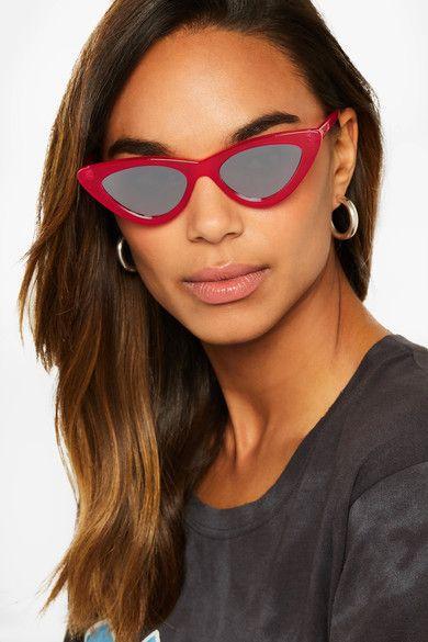30e228f2540 Le Specs - Adam Selman The Last Lolita Cat-eye Acetate Mirrored Sunglasses