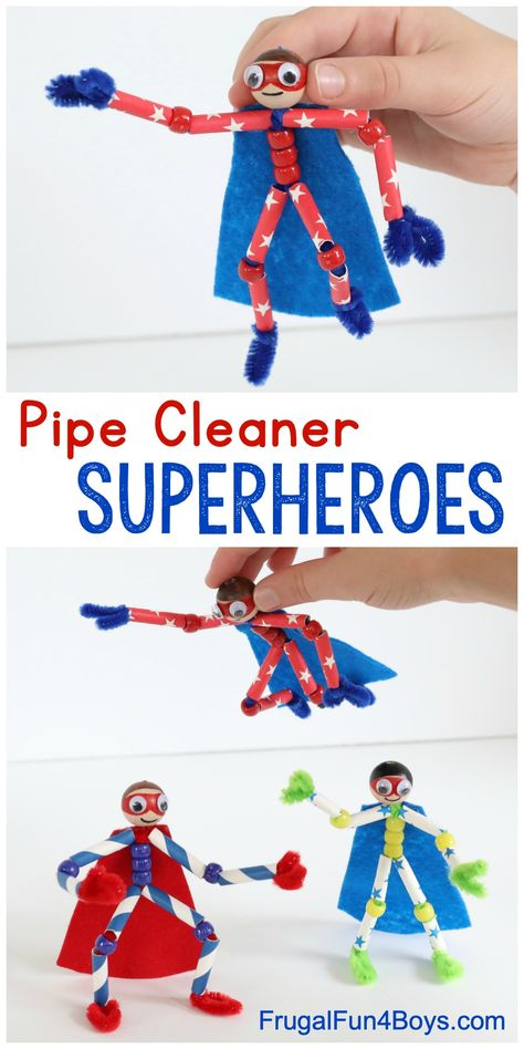 How to make pipe cleaner superheroes - superhero crafts for kids!How to make pipe cleaner superheroes - superhero crafts for kids! Cleaner for handicraft children powers Spiders awesomeSpiders awesomeBeaded pipe cleaner butterfliesThese pearl pipe Crafts For Kids To Make, Projects For Kids, Diy And Crafts, Craft Kids, Kids Diy, Easy Crafts, Decor Crafts, Simple Kids Crafts, Craft Box