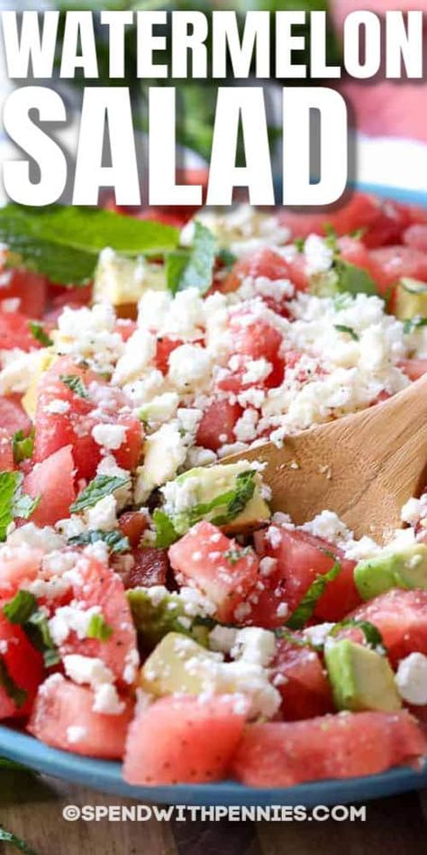 Watermelon salad is one of our favorite summer salad recipes! Juicy watermelon, buttery avocado, fresh mint and feta cheese are tossed in a simple dressing. #spendwithpennies #watermelonsalad #potluckrecipe #easyrecipe #summersalad #mint #avocadosalad