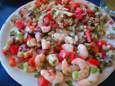 ceviche  shrimp or crab meat (1 lb is a good start) - several large tomatoes - a handful of lime or bottles of lime juice concentrate - a couple of onions - several chili peppers (the type will depend on spicyness that you prefer)