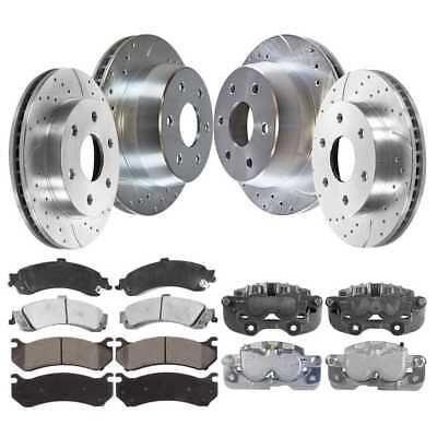 Metallic Brake Pad Fits 05-2013 Chrysler 300 2 Drilled Slotted Rotors 4 Rear