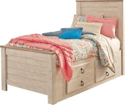 Ashley Willowton Twin Storage Bed In 2020 Twin Bed With Drawers Twin Storage Bed Bed With Drawers