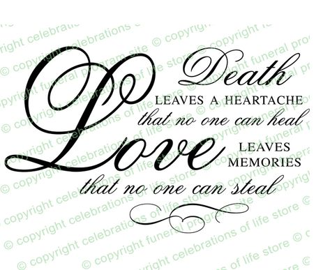Death Is A Heartache Funeral Poem Word Art Design