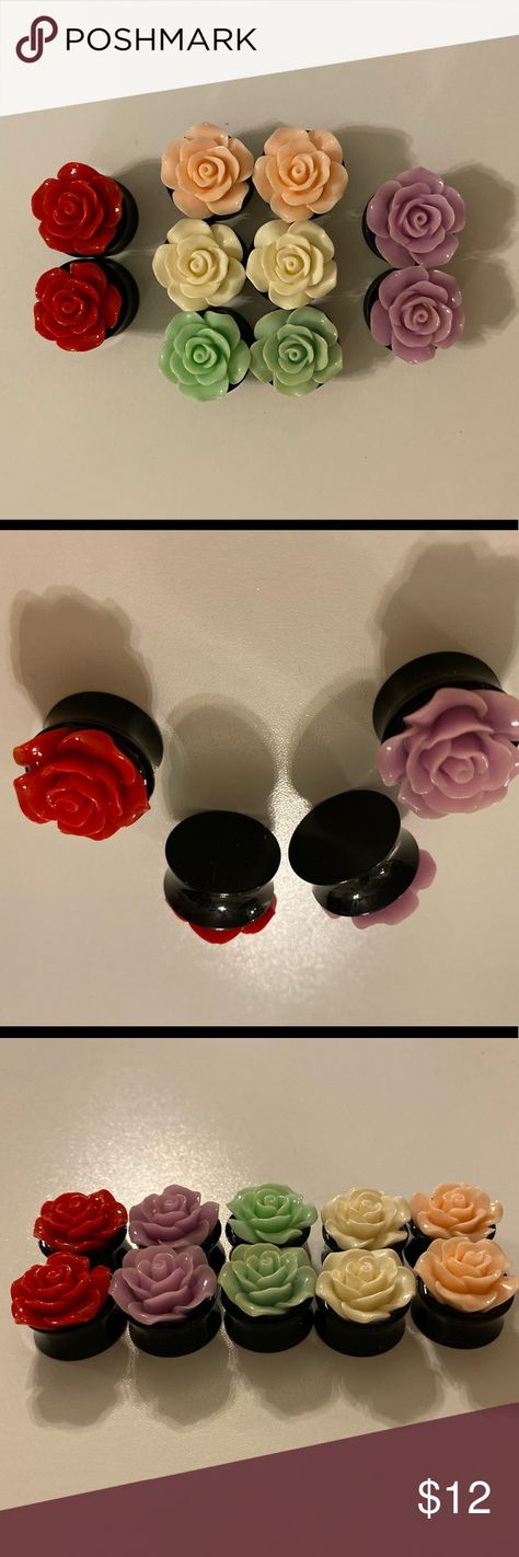 """Size 3/4"""" (20mm) rose stretched ear jewelry 5 pairs of rose 3/4"""" (20mm) ear jewelry for stretched ears  Make me an offer lovelies! 🥰 Jewelry Earrings"""