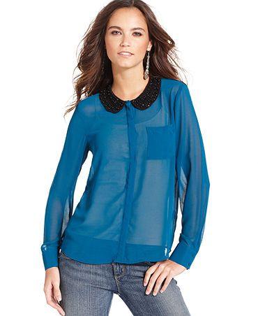 Kensie peter pan collar chiffon blouse