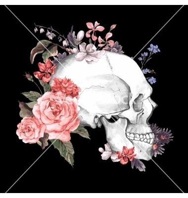 Roses and skull day of the dead vector  - by Depiano on VectorStock®