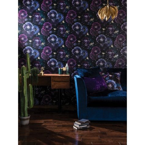 ARTHOUSE 692301 GLITTER FANTASIA NOCTURNAL WALLPAPER PURPLE TEAL