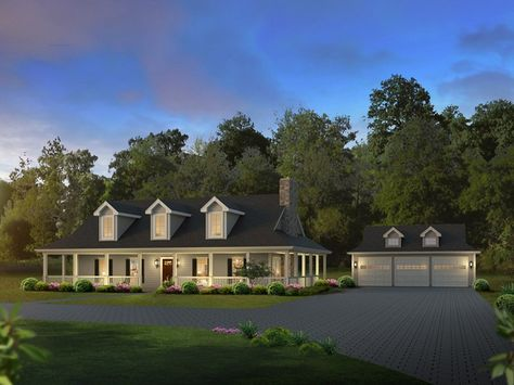 Oakleigh Country House Plan.....we would love the porch, and he would love the garage!