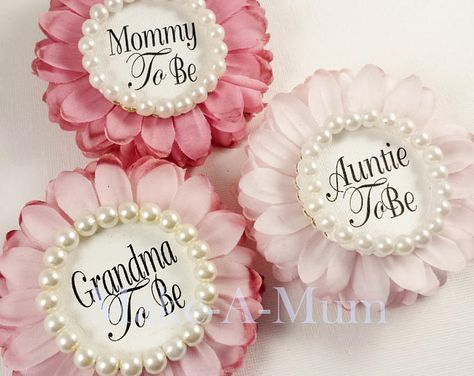 Modern Rose Blush Pink Girl Baby Shower Corsage Personalized