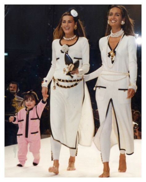 Yasmin Le Bon, Gail Elliot & Amber Le Bon on her first catwalk (in pink) for CHANEL