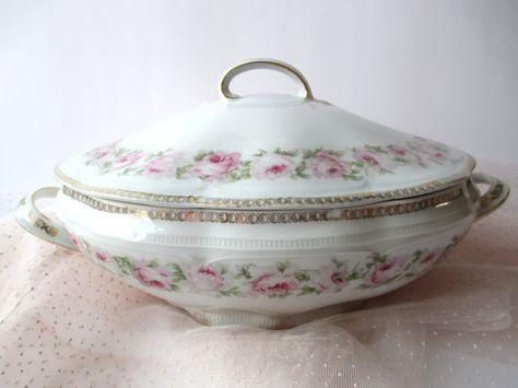 Antique Scherzer Bavarian Mignon Pink and Green by thechinagirl