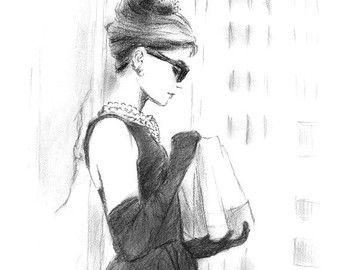 Audrey Hepburn Breakfast at Tiffanys Watercolor by sookimstudio