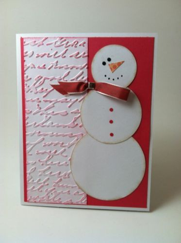 Card Kit (4) Christmas Snowman Embossed Stampin Up