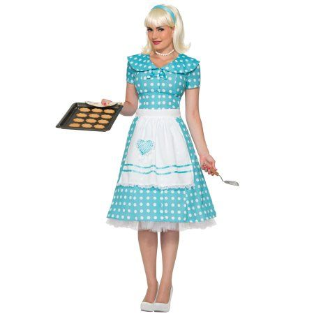 Housewife Costume Blue - Includes polka dot dress with attached bow, and apron. (White petticoat shown underneath dress is not included.) Great couples c 50s Housewife Dress, Housewife Costume, 1950s Housewife, Costumes For Sale, Adult Costumes, Costumes For Women, 1950s Costumes, Halloween Costumes, Baby Costumes