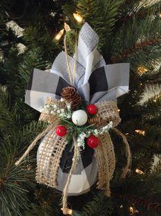 Christmas Tree Ornaments Plaid Xmas Ornaments Set Of 2 Ornaments Buffalo Black And White Christmas Ornaments Handmade Design Plaid White Christmas Ornaments Christmas Tree Ornaments Diy Christmas Ornaments