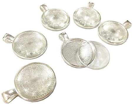 3 MAGNIFYING  CABOCHON GLASS 25.MM DOMED  PENDANT CHARM TRAY BEZEL CRAFT JEWELRY