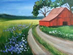 Image Result For Beginners Acrylic Painting Ideas For Country Or City Landscapes Oilpaintingforbeginners Easy Landscape Paintings City Landscape Barn Painting
