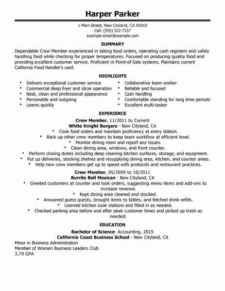 Food Service Job Description Resume Best Of Crew Member Resume Examples Food Restaurant Restaurant Resume Customer Service Resume Examples Food Service Jobs
