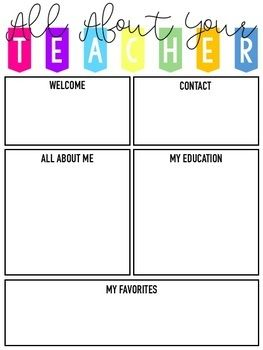 Meet The Teacher Templates Editable Meet The Teacher Template Teacher Templates Curriculum Night