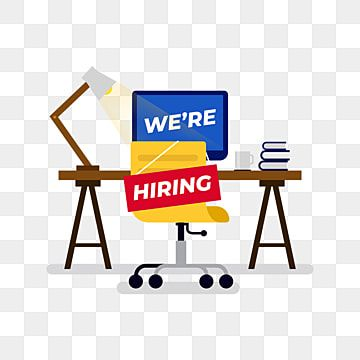 We Re Hiring Sign Hung On The Chair Of Empty Office Employee Workplace Png And Vector Geometric Pattern Background Now Hiring Sign Background Design