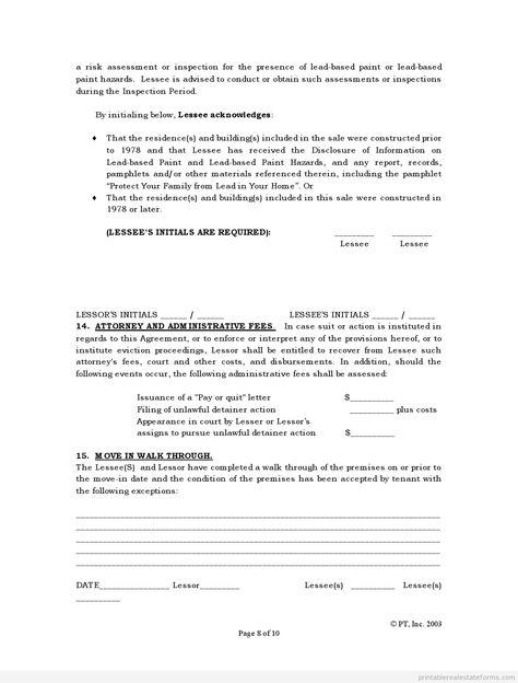 Sample Printable Standard Lease Agreement Form Http