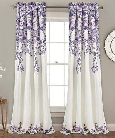 Purple Tanisha Blackout Curtain Panel Set Of Two Floral Room Panel Curtains Purple Curtains