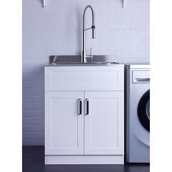 Afa Stainless Steel Laundry Sink 25 X 22 With Faucet Cabinet Laundry Sink Laundry Room Storage Laundry Room Storage Shelves
