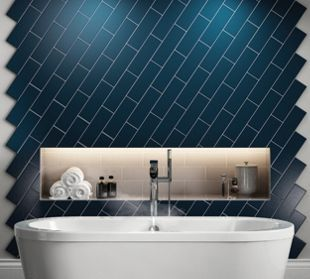 Wickes Twilight Dark Blue Ceramic Wall Tile 300 X 100mm Wickes Co Uk With Images Dark Blue Tile Wickes Tile Accent Wall