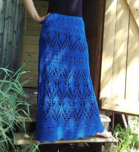MADE TO ORDER Blue crochet skirt. Handmade elegant  skirt.  Mermaid crochet skirt.
