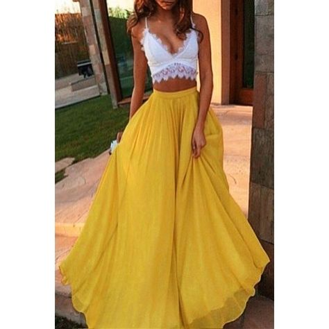 bbcd8e565 Yellow High Waisted Maxi Skirt YELLOW: Skirts | ZAFUL ❤ liked on Polyvore  featuring skirts, long yellow skirt, high rise skirts, high rise maxi skirt,  ...