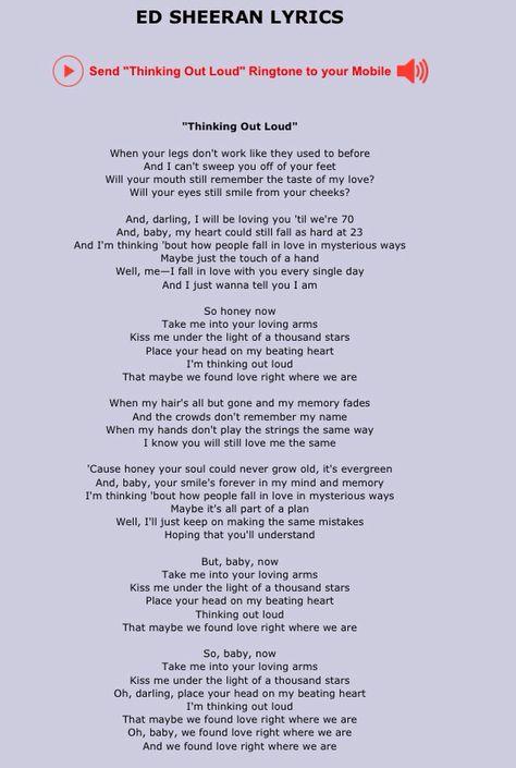 Ed Sheeran Thinking Out Loud Beautiful Song Letras De