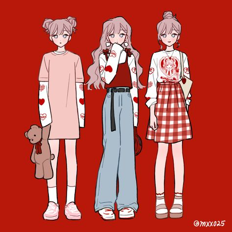 aesthetic soft oufit girl - inspired in Coca-Cola Arte Do Kawaii, Kawaii Art, Cute Art Styles, Cartoon Art Styles, Fashion Design Drawings, Fashion Sketches, Art Sketches, Anime Outfits, Mode Outfits