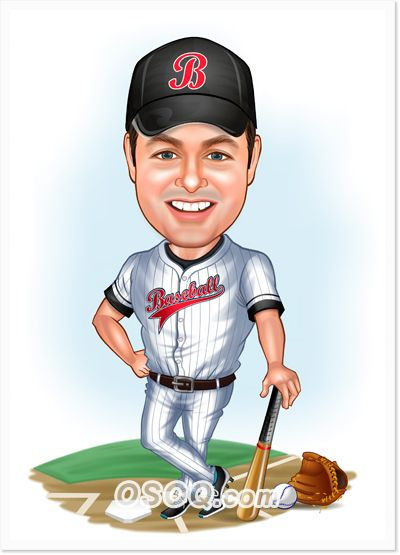Baseball Player Caricature Caricature Custom Cartoons Baseball