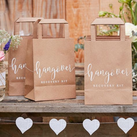 Hangover Recovery Kit Bags - Look after your guests with our fun Hangover Cure bags - they will be thanking you the next day! Make sure your guests are prepared for having all the fun at your wedding with our cute kraft hangover bags - They will have ev Wedding Welcome Bags, Unique Wedding Favors, Unique Weddings, Rustic Wedding, Wedding Gifts, Beach Weddings, Vintage Weddings, Elegant Wedding, Handmade Wedding