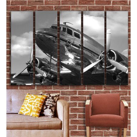 Vintage Airplane Aircraft Wall Art Decor Picture Painting On 5 Canvas Panels Pieces Dc 3 Vintage Aviation Wall Plane Wall Art Aircraft Art Vintage Airplanes