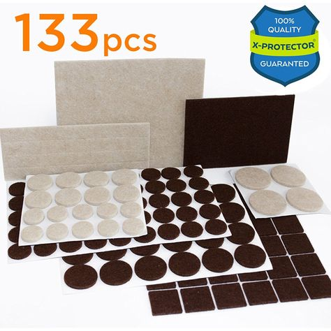 X Protector Premium Two Colors Pack Furniture Pads 133 Piece Felt Pads Furniture Feet Brown 106 Beige 27 Various Sizes A Colorful Furniture Cool Chairs Furniture