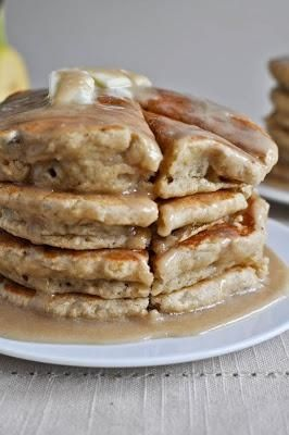 Whole Wheat Brown Sugar Banana Bread Pancakes.  Use almond milk to replace regular milk. And for the glaze, I only used a sprinkle of powdered sugar (because oh my sweetness overload), but they were still some of the best pancakes Ive ever had.