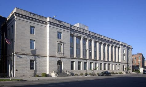 Quentin N. Burdick Federal Courthouse: Built in 1931 in the Renaissance Revival style, this 3 story building is faced with limestone.  Its most notable features are the ten ionic engaged columns alternated with tall window openings and cast iron spandrels.