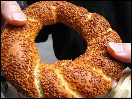 Turkey: Simit. A bit like a bagel, covered with sesame seeds.
