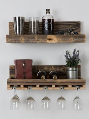 Reclaimed Wood Floating Wine Rack- set of 2 Perfect shelves for kitchen or dining, includes matching set of 1 glass rack and 1 floating shelf. #reclaimedwood #rusticwoodshelf #rustichomedecor