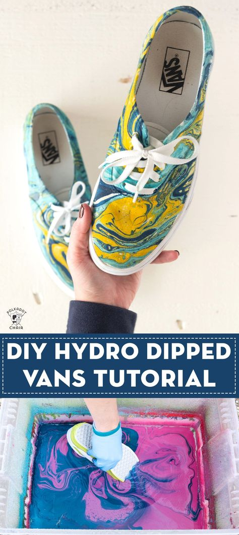 Learn how to hydro dip vans or other shoes with this tutorial. shoes ideas How to Hydro Dip Vans to Create Unique, Custom Shoes Spray Paint Shoes, Diy Spray Paint, Painted Canvas Shoes, Painted Vans, Hydrodipping Diy, Diy Hydro Dipping, Hydro Painting, How To Dye Shoes, Accessories