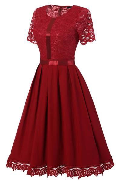 c888b681a6c62 Sexy Vintage Summer Lace Round Neck Short Sleeve Princess Dress ...